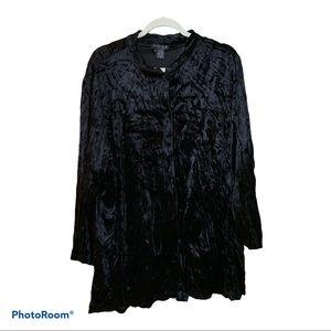 Citron Black Velvet Rayon Silk Button Down 2X